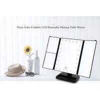 Três Lados do Espelho de Maquiagem Dobrável 24 Luzes LED Pode Ser Escurecido aleatoriamente rodado Mesa Emoldurado Espelhos de Aumento com Base Destacável