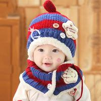 2Pcs Set Lovely Thicken Baby Winter Hat And Scarf Cute Star Pattern Woolen Knitted Cap Baby