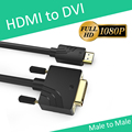 KAIBOER HDMI to DVI DVI-D 24+1 pin adapter cables 3D1080p for LCD DVD HDTV XBOX PS3 free shipping High speed hdmi cable 1.5m