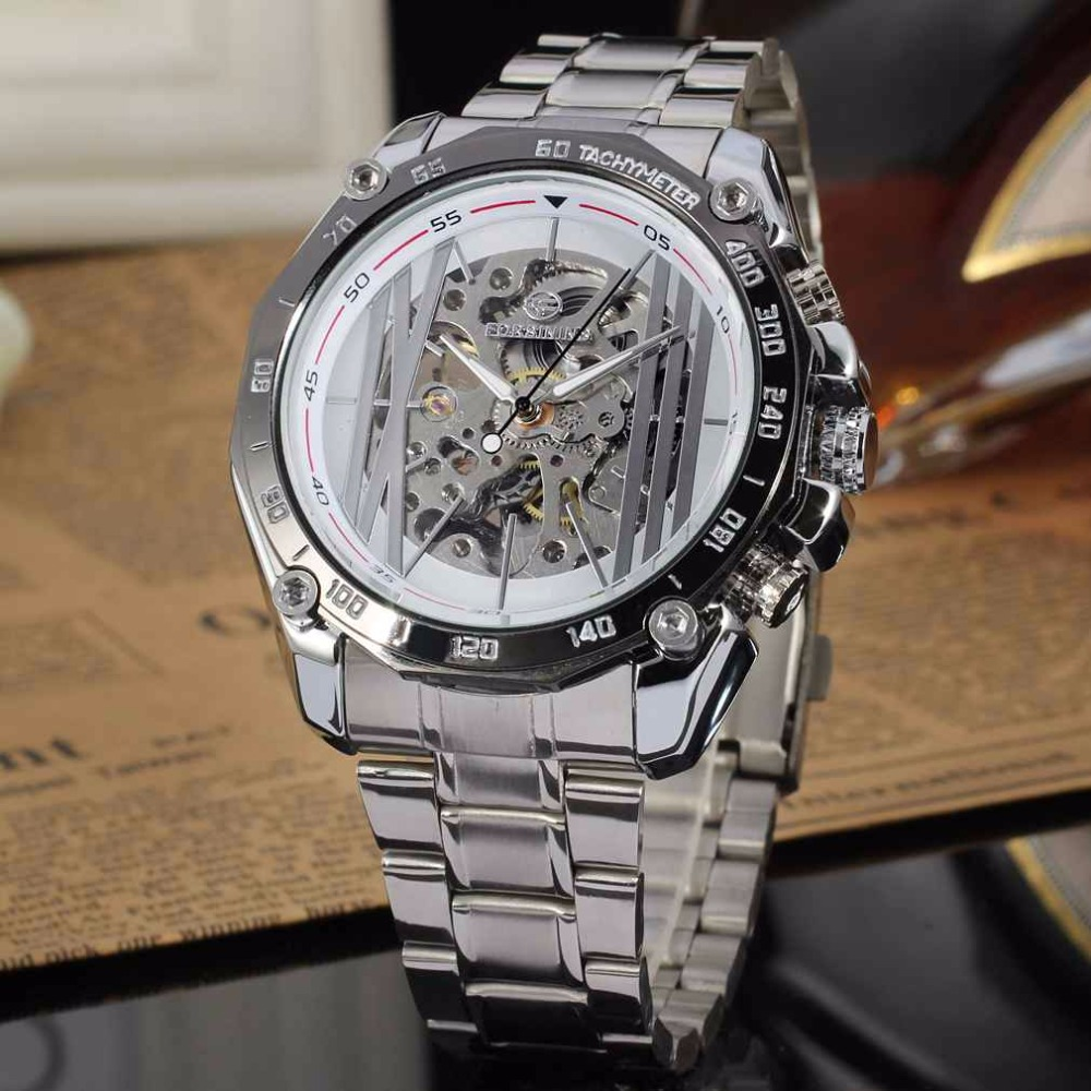 Transparent Skeleton Steampunk White Dial Silver Tone Stainless Steel Band Mens Watches Automatic Mechanical Wrist Watches Gift