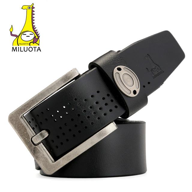 [Miluota] vaca cinturones de cuero genuino para los hombres de la aleación pin hebilla de cinturón de marca hombre de la manera de lujo de la correa ceinture mu007
