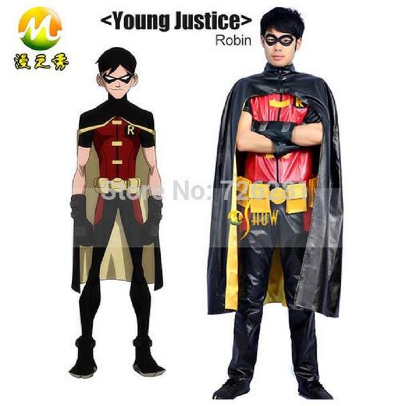 Мультфильм Аниме супергерой Молодые юстиции Робин Косплэй костюм мужские кожаные Хэллоуин праздничный комплект