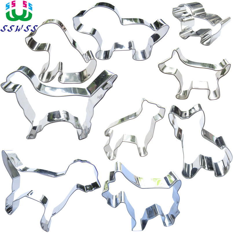 Neun verschiedene Rassen von Schoßhunden formen Kuchendekorationswerkzeuge, weltberühmte Hundewettbewerbe, Plätzchenbackformen, Direktverkauf