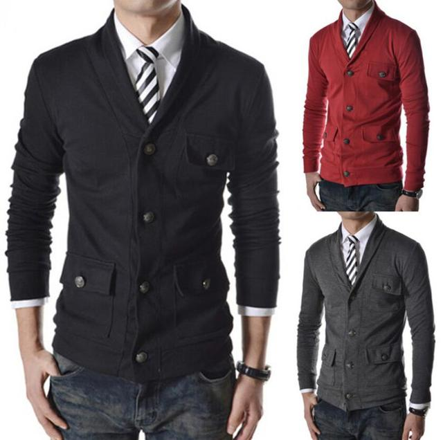 2015 new fashion men's casual single-breasted jacket decorated Coat men hoodies outerwear