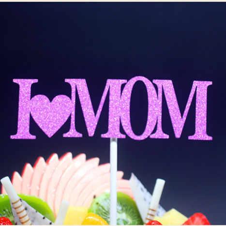 I Love Mom Mather's Day Feliz cumpleaños pastel bandera para cumpleaños Mather's Day fiesta pastel hornear Decoración multi colores