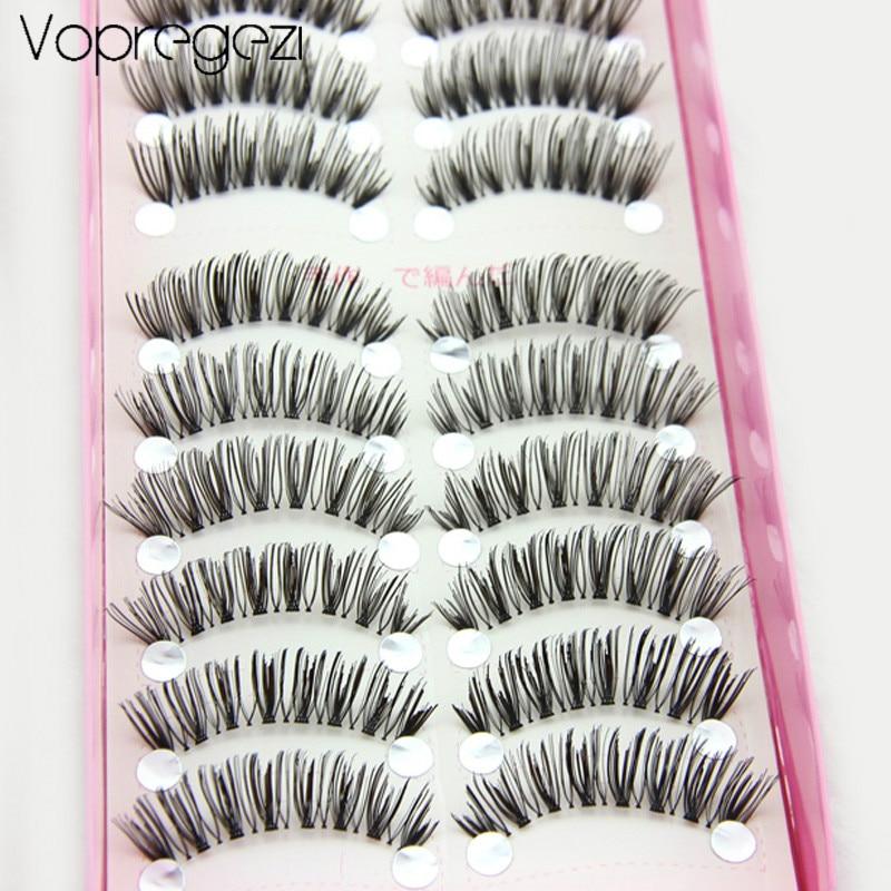 Vopregezi 10pair Faux Cils Natural False Eyelashes Women Makeup for Eyelash Extension Handmade Long Fake Lashes Beauty for Eye