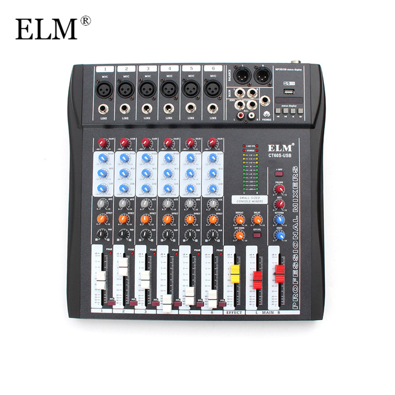 ELM Professional Karaoke Microphone Audio Digital Sound Mixing Amplifier Mixer Console 6 Channel With USB 48V Phantom Power