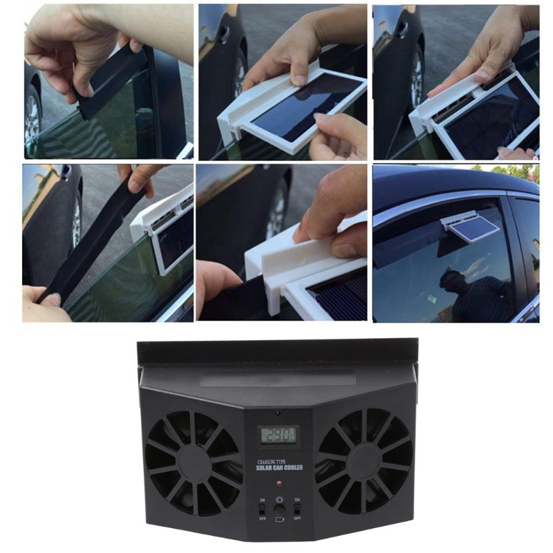 2017 Solar Power Car Window Windshield Auto Air Vent Cooling Exhaust Dual Folding Fan System Cooler