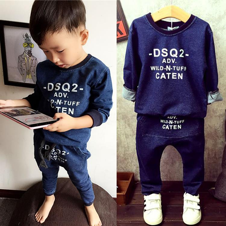 Fashion Children Clothing 2017 Spring Baby Boys Clothing Sets 2-7Yrs Kids Suits Blue Letter Hoodies + Harem Pants 2pcs/lot baby boys sets cartoon dinosaur animal shapes children s clothing spring fall flannel coat with hood pants kids wear 0 2 yrs