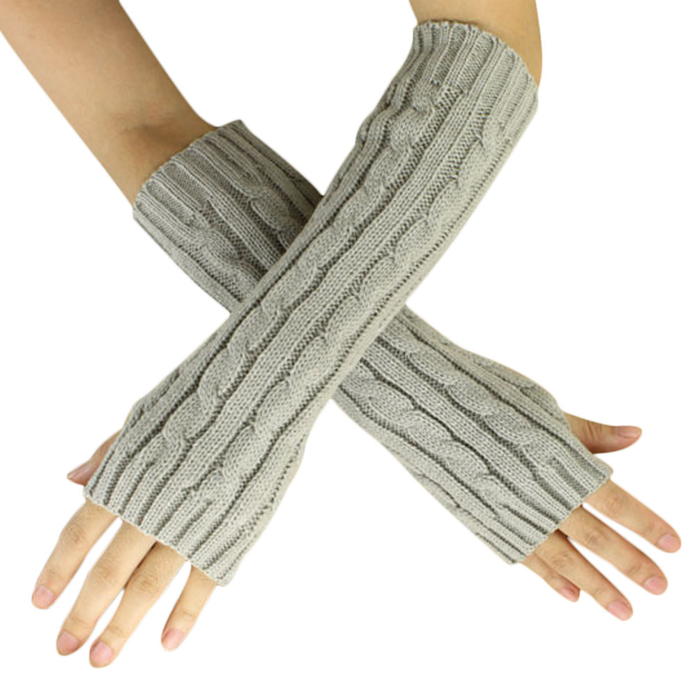Winter Woman Arm Warmers Gloves Knitted Fingerless Gloves Sexy Knit Arm Warm Gloves Ladies Long Gloves Solid 2018 New