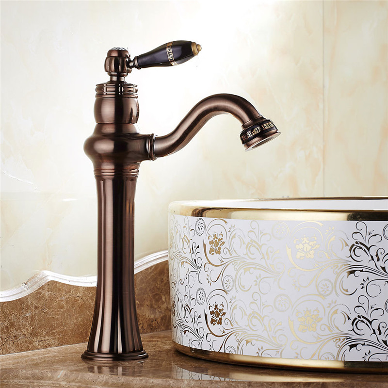 Bathroom Basin Faucet Brown Bronze ORB Basin Faucet Unique Design Solid Brass Basin Water Tap Hot Cold black mixer tap Torneira free shipping fancy brass basin faucet new design tap black orb color bathroom vanity mixer tap deck mount faucet hot cold zr376