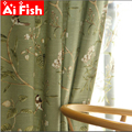 American Country Garden Cotton Linen Green Window Curtains For Living Room Birds Printed Bedroom Window Blackout Drapes WP145-40