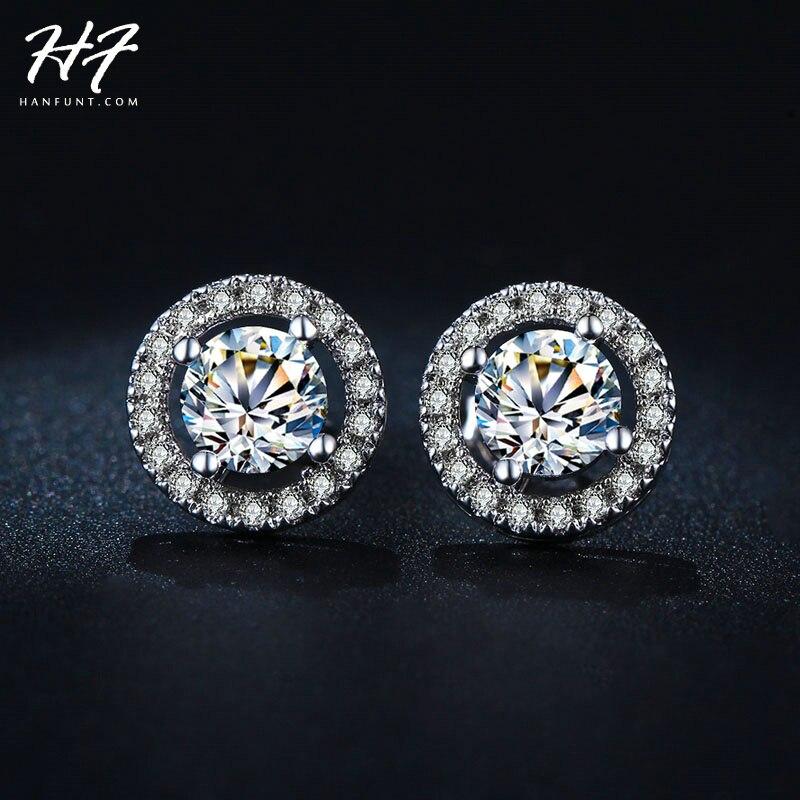 785c46865ca6 Classic Sliver Color Hearts   Arrows cut 0.75 carat AAA+ Cubic Zirconia  Stud Earring Wedding Earrings for Women E836