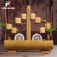 110 240V Bamboo Water Fountain Bonsai Desktop Small Fish Tank Flower Pot Office Feng Shui wheel Home Decor Lucky Business Gift