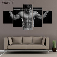 5pcs Superstar Fitness Bodybuilding Poster Fabric Silk Black And White Poster Print Great Pictures On The