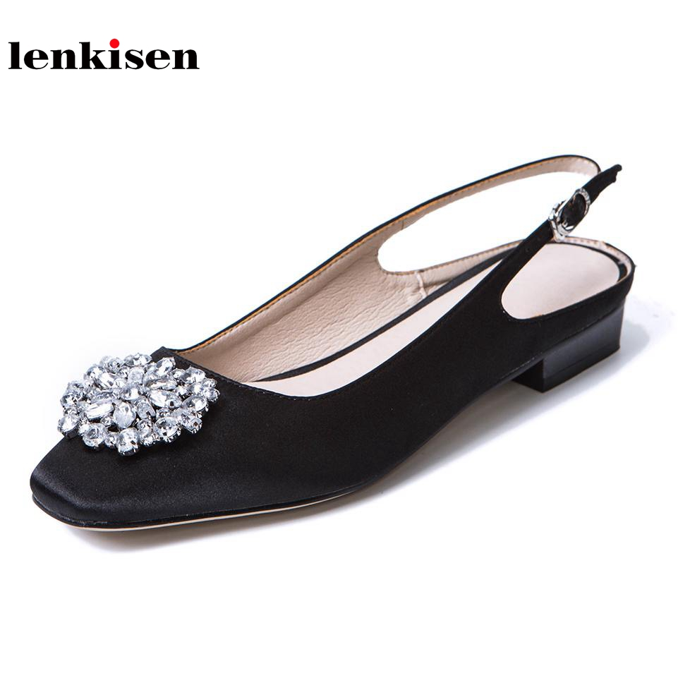 Lenkisen new simple classic style crystal decoration women sandals square toe buckle strap slingback low heels