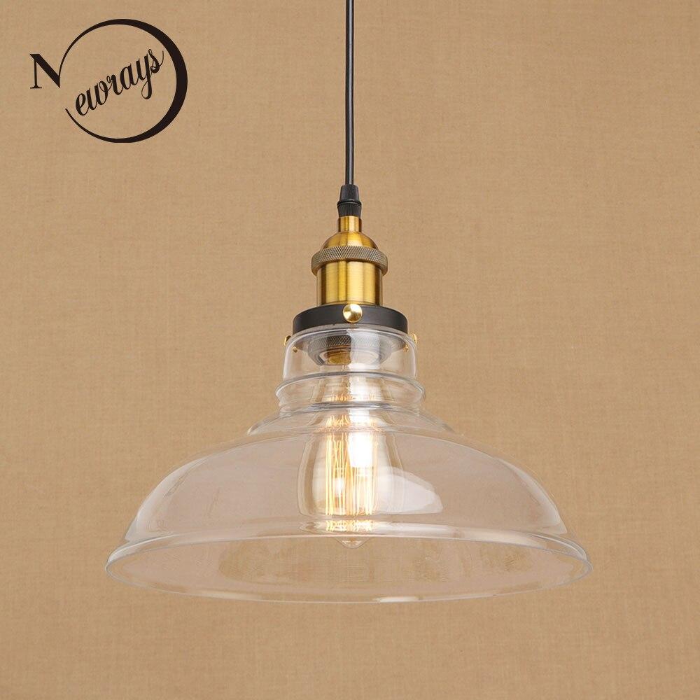 Vintage loft hanging Glass lampshade Pendant Lamps modern Fixtures e27/e26 pendant Lights for living room Restaurant Cafe Bar|pendant lights|vintage loft|glass lampshades - title=