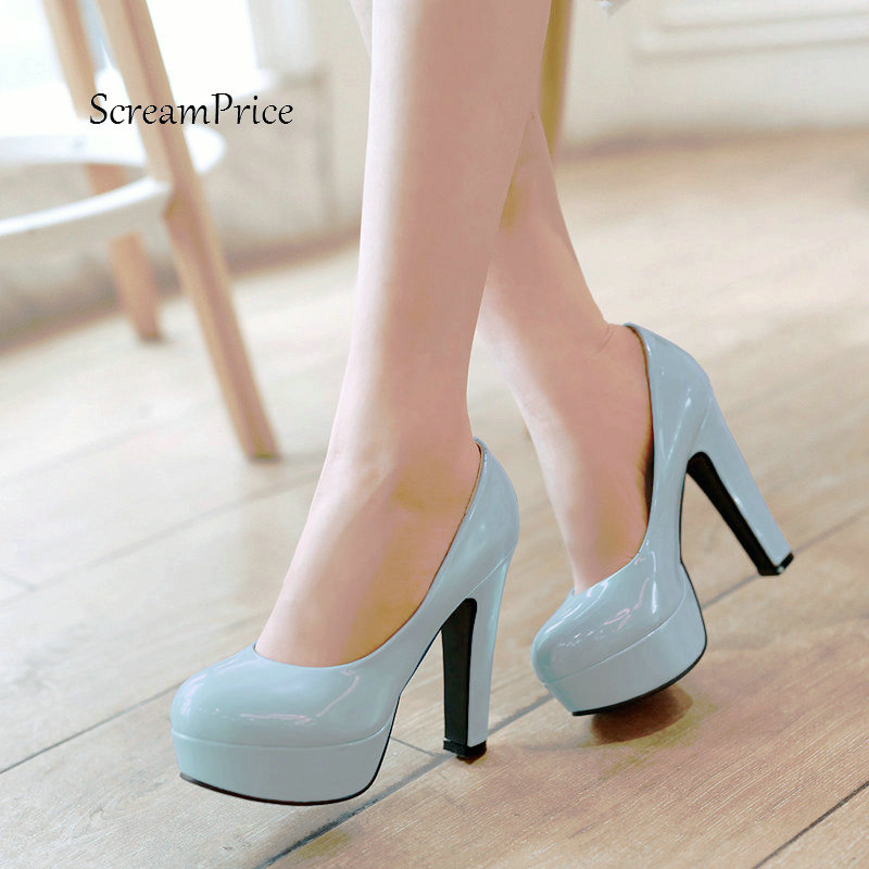 Women Platform Thick High Heel Lazy Shoes Fashion Shallow Dress Party Shoes Black Pink Blue