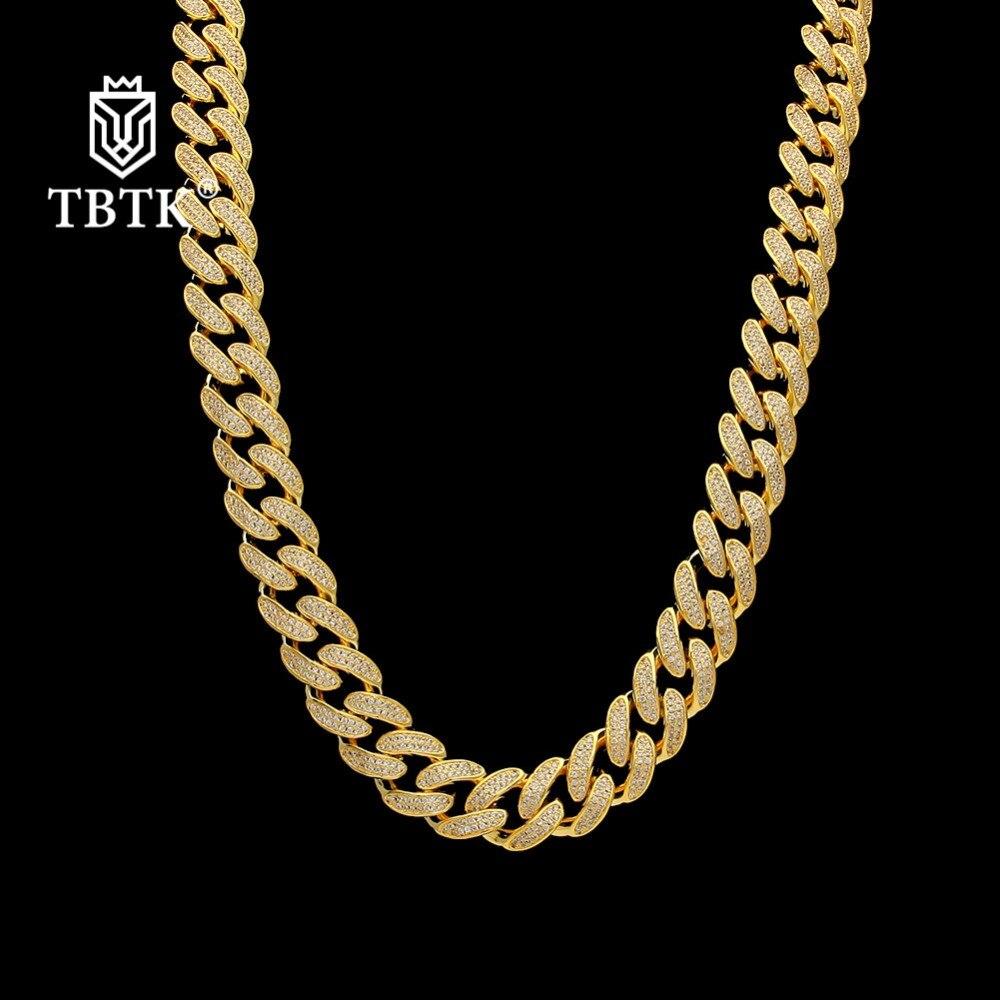 TBTK gros clair CZ or métal lien cubain glacé chaîne bijoux de luxe charmes Punk Choker Hiphop collier à la mode femmes