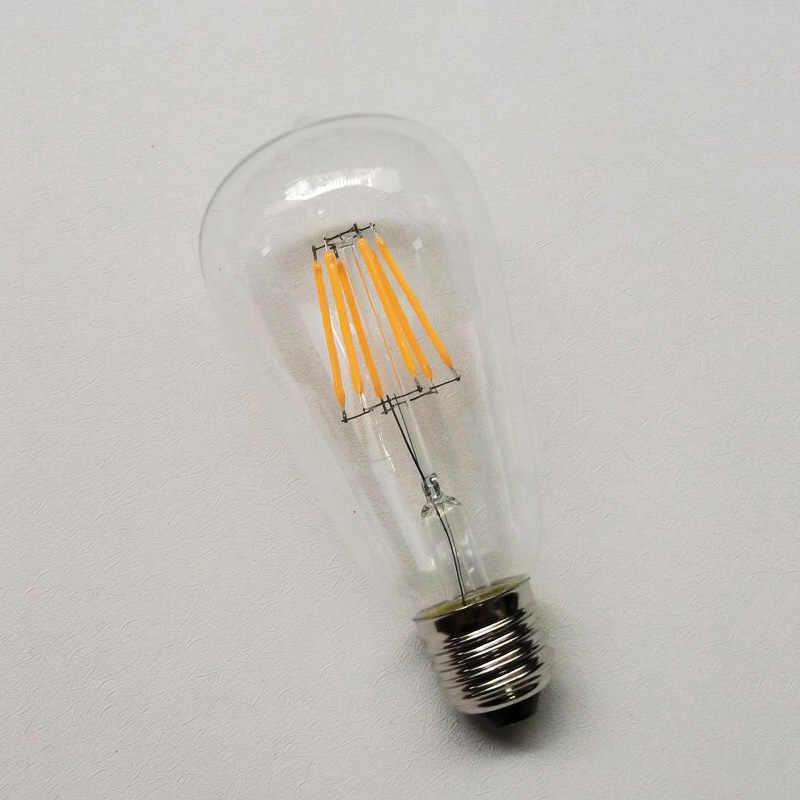 Лофт стиль Светодиодный светильник накаливания ST64 E27 220 В с регулируемой яркостью 4 Вт 6 Вт 8 Вт теплый белый люстра лампада Bombilla ампул для кафе магазин