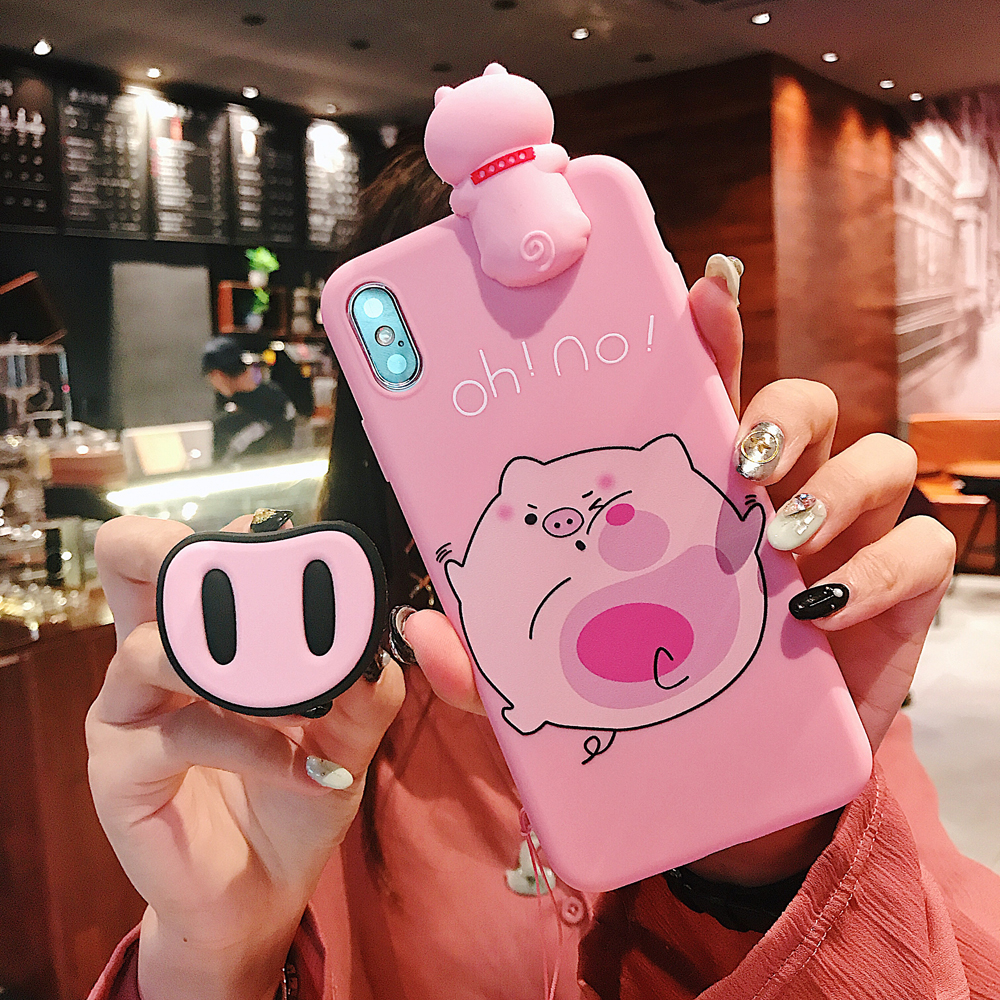 Harajuku Kawaii Funny Pink Pig Nose Stand Phone Case For iPhone