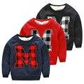 Novo estilo de inverno da Coréia do sul 2016 letra M desgaste das crianças do sexo masculino crianças mais adicionar lã casaco de lã do menino T-shirt wt-4377