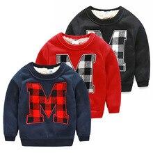 new winter south Korean style 2016 letter M male children's wear children more add wool fleece jacket  boy's T-shirt wt-4377