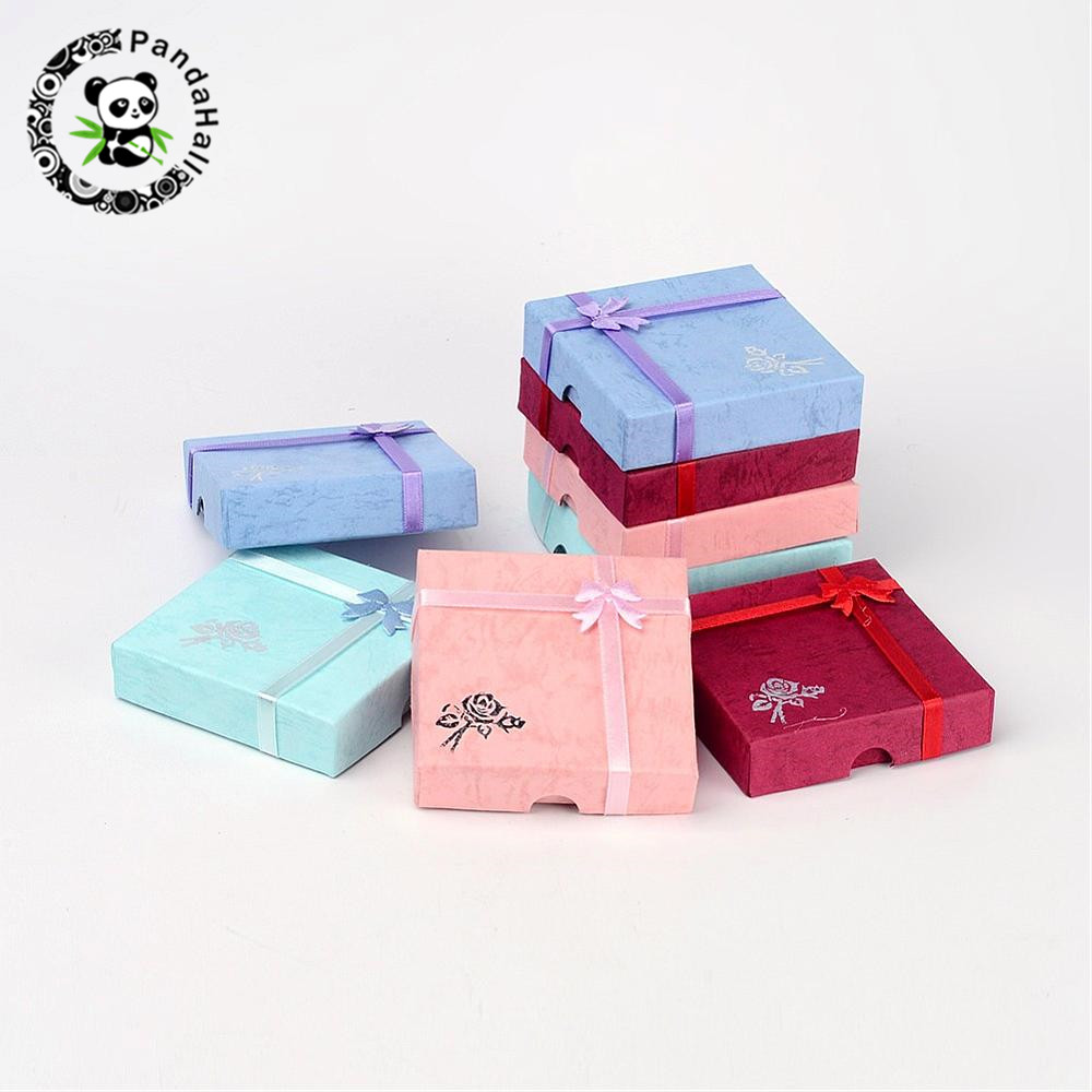 120pcs Cardboard Bracelet Boxes With Flower Sponge And Fabric Inside Square Mixed-Color About 9cm Long, 9cm Wide, 2cm Thick