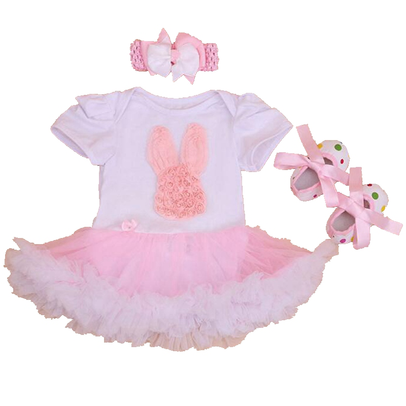 Pink Rabbit Applique Newborn Baby Girl Clothes Lace Romper White Crib Shoes Headband 3PC Toddler Tutu Sets Infant Girls Clothing