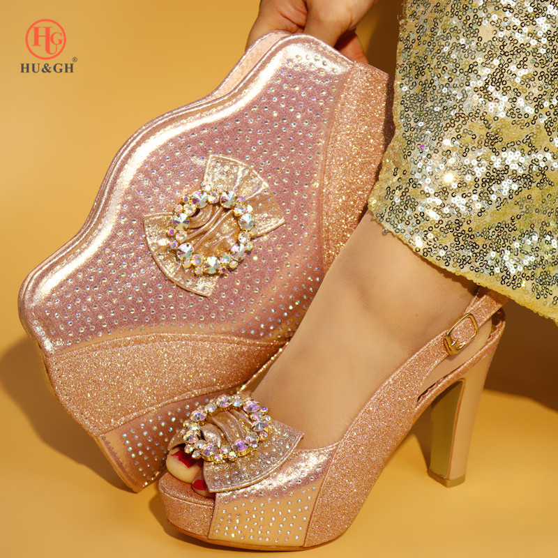 New Nigerian Shoes and Matching Bags Set Decorated with Rhinestone Italian Pink Shoes with Matching Bag Set African for Wedding yongnuo yn600ex rt ii flash speedlite 2 4g wireless hss 1 8000s master ttl speedlight for canon dslr as 600ex rt yn600ex rt ii