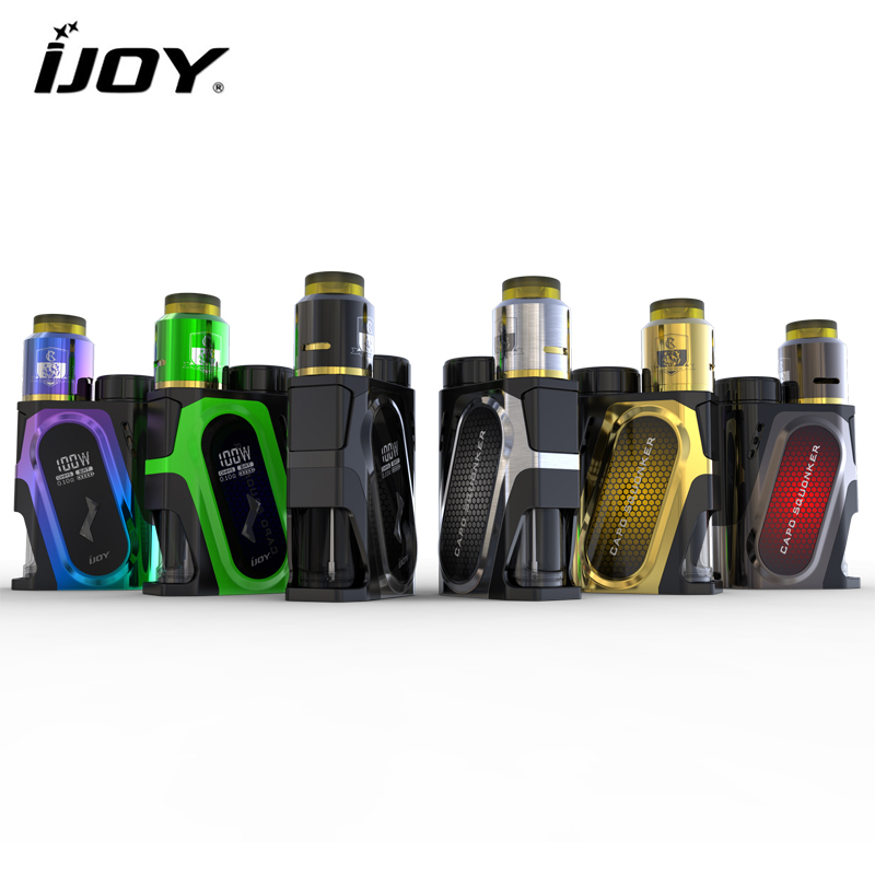Original IJOY CAPO SQUONKER 100W Box MOD Vape with MBO RDA Triangle Tank Comptiable 21700 / 20700 / 18650 Battery original ijoy saber 100 kit with 5 5ml diamond subohm tank 100w saber 20700 battery box mod electronic cigarette
