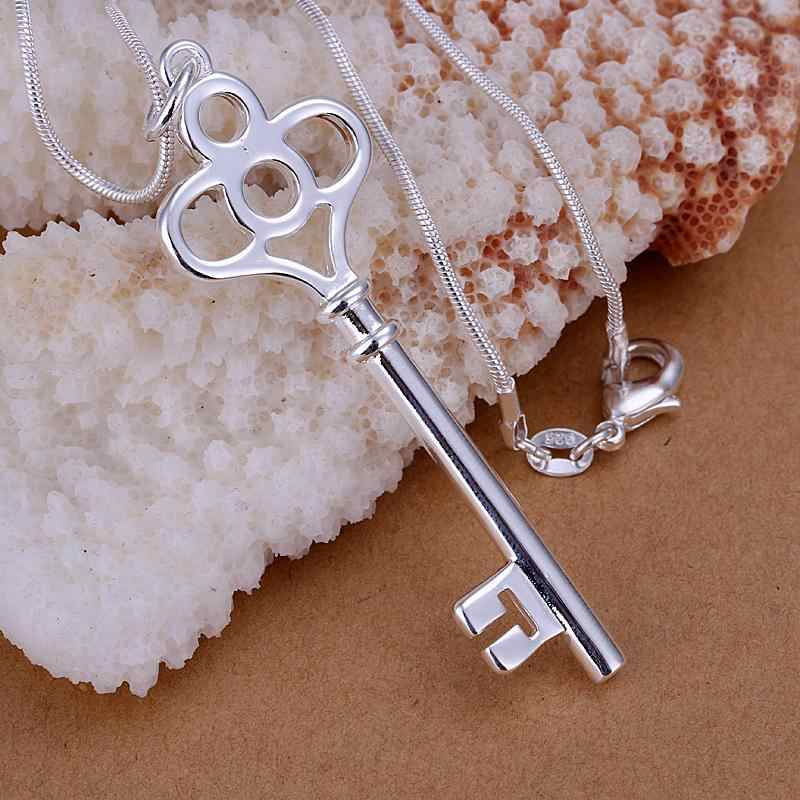 Wholesale P064 fashion jewelry chains necklace 925 silver necklace 925 silver pendant Four-circle key pendant