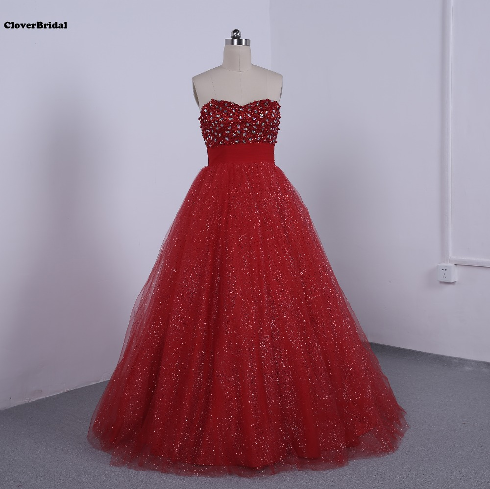 A line sweetheart red glitter tulle prom dress 2017 with pearls stones sequins hot sale high quality robe de soiree