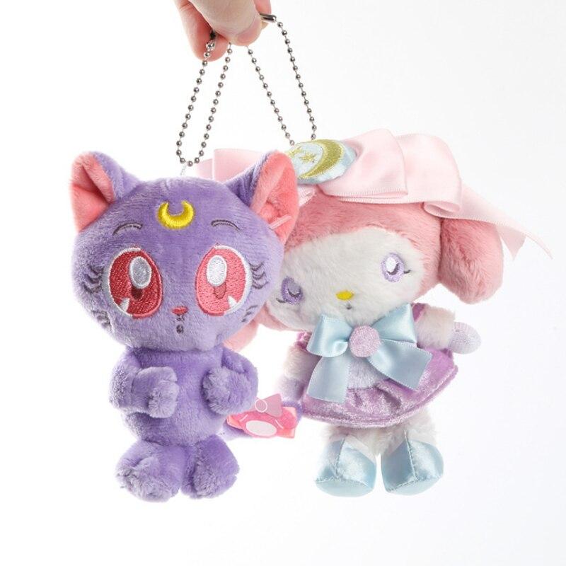лучшая цена 1 pcs creative Cartoon Animal Sailor Moon Luna Cat and Meiledi Plush Keychain Pendants Toys Stuffed Soft Dolls Toy