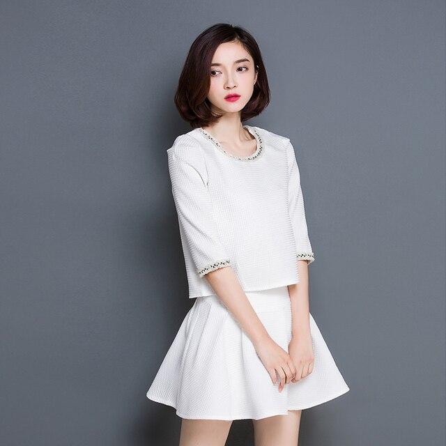 c734e17c1a6273 Nieuwe Koreaanse Mode Vrouwen Top En Rok 2 Stuk Set kleding Wit Past Rokken  Korte Rok