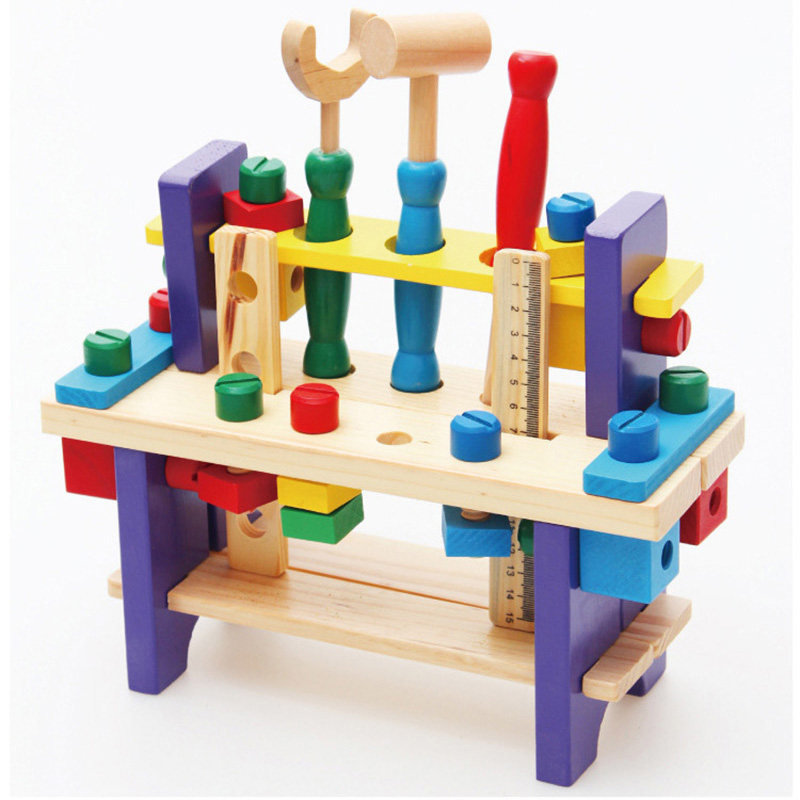 Montessori Baby Toys Pretend Children Wooden Toys Educational Wooden Tool Project Workbench Multifunctional Nut Combination Toy