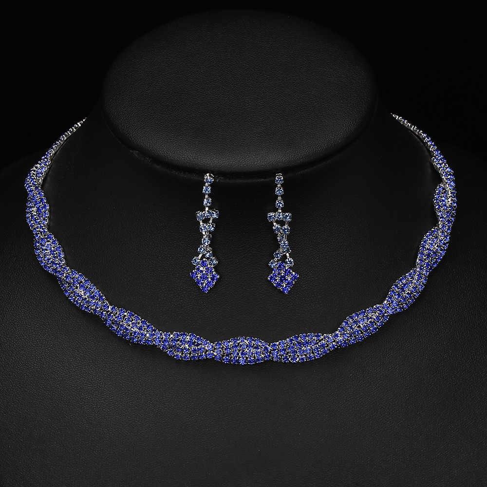 TREAZY الملكي الأزرق حجر الراين كريستال مجوهرات الزفاف مجموعات للنساء ملتوي المختنق قلادة أقراط مجوهرات الزفاف مجموعات