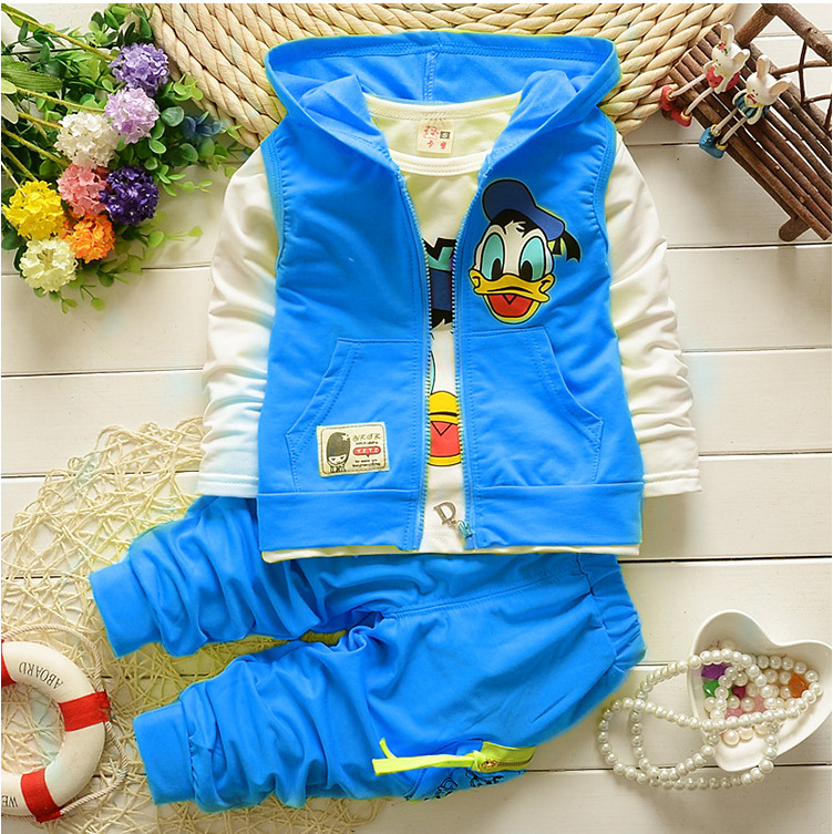 2017 Spring Baby Girls Boys Clothes Sets Cute Duck Infant Cotton Suits Coat+T Shirt+Pants 3 Pcs Casual Sport Kids Child Suits