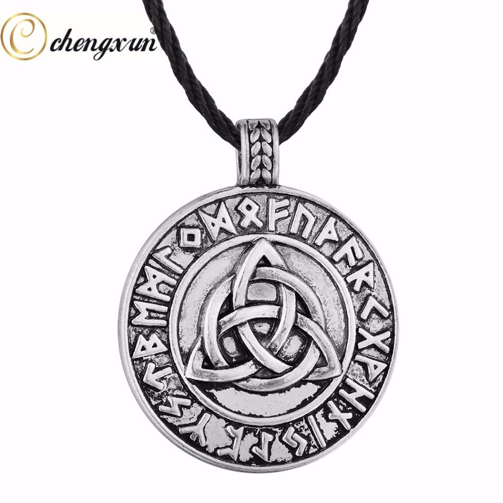 Celtic Knot Vikings Valknut Amulet Odin Symbol Pendant Necklace for Fighters