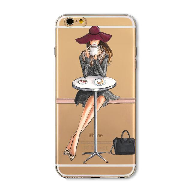 Transparent Fruit Girls Macaron Dessert iPhone Cases