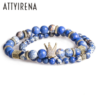 2pcs Set Bead Bracelet Crown Charm Bangle Natural Blue Emperor Stone BeadsBuddha Bracelet For Women And