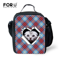 Fashion Portable Insulated Canvas Lunch Bag Blue Plaid Thermal Food Picnic Lunch Bags for Women Kids Men Cooler Lunch Box Bag