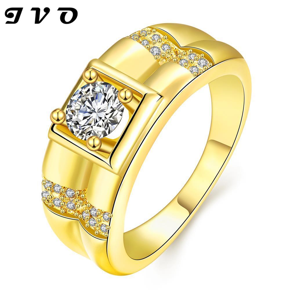 Shanyong Jewelry Co.,Ltd Free shipping New Fashion Gold color Zircon Ring Engagement Rings Wedding Rings For Men