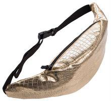 2016 Modes jostu soma ar pudelīti Gold Alligator PU vidukļa soma fanny pack sievietēm maisiņā Ādas kāju somas bolso para cinturon