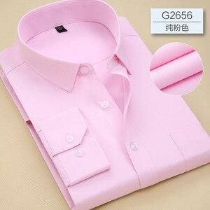 Image 3 - 2019 Повседневная однотонная приталенная мужская деловая рубашка с длинными рукавами, Мужская классическая рубашка, Мужская классическая рубашка, мужская рубашка