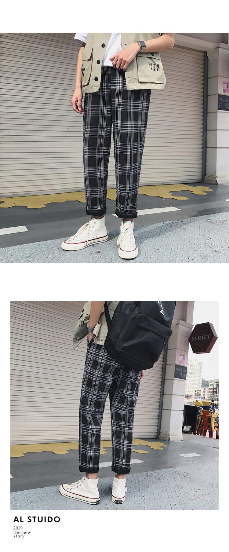 HTB1mO1qbsrrK1RjSspaq6AREXXag LAPPSTER Streetwear Yellow Plaid Pants Men Joggers 2019 Man Casual Straight Harem Pants Men Korean Hip Hop Track Pants Plus Size