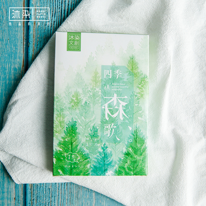 30 Pcs/Set Original Hand-painted Watercolor Forest Postcard /Greeting Card/Message Card/Birthday Letter Envelope Gift Card