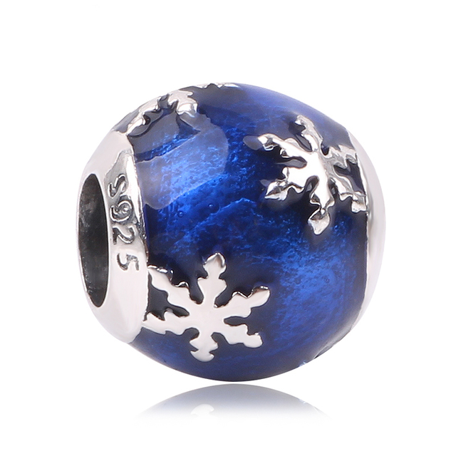 c84022e2c Couqcy Winter Snowflake Style Blue 925 Sterling Silver Charms Christmas  Gift Fit Original Pandora Bead Bracelet DIY Jewelry
