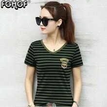 ФОТО kiliveng brand 2018 summer tops women striped t-shirt tshirt femme camouflage camiseta feminina stretch t shirts plus size 1879