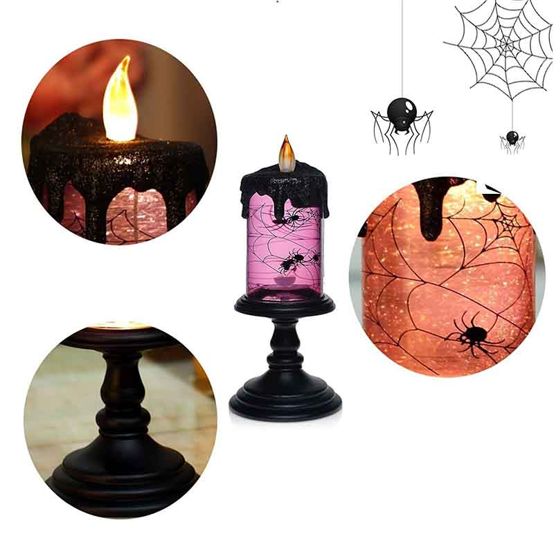 GiveU Halloween Decoration Spider Tornado LED Lighting Flameless Candle,Battery Operated